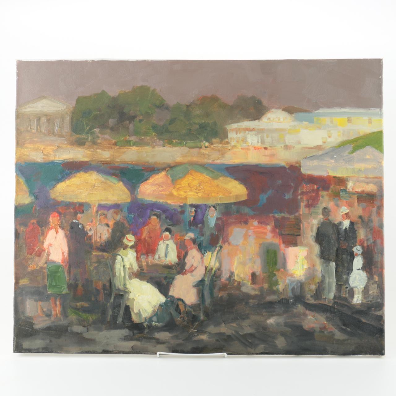 Murat Kaboulov Oil on Canvas Street Scene