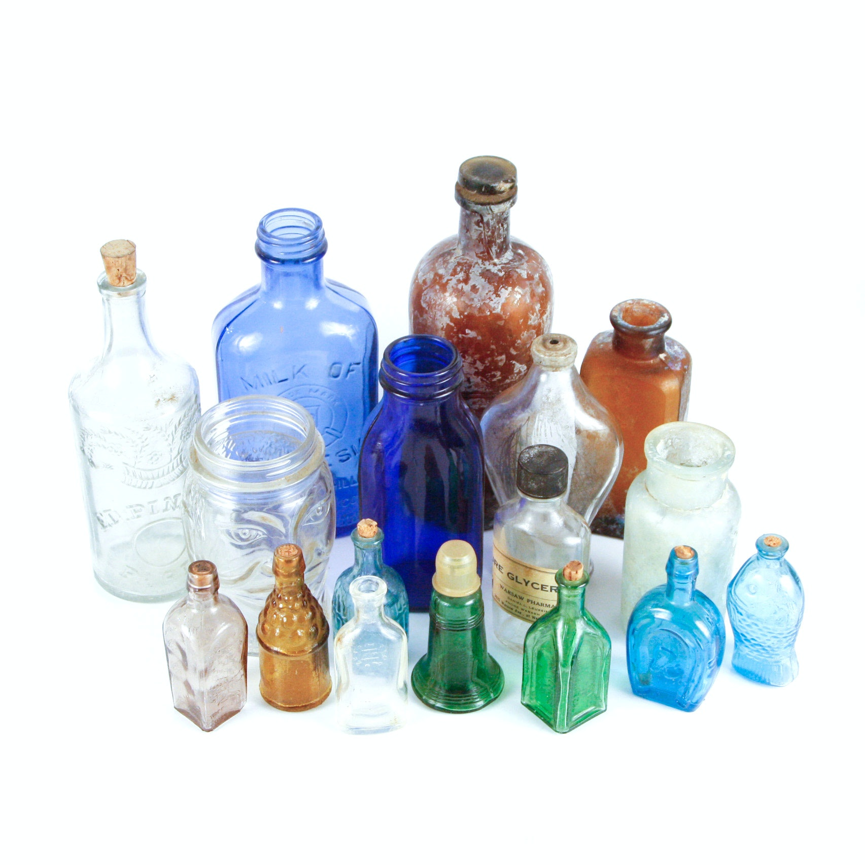 Collection of Assorted Vintage Glass Bottles and Apothecary Jars
