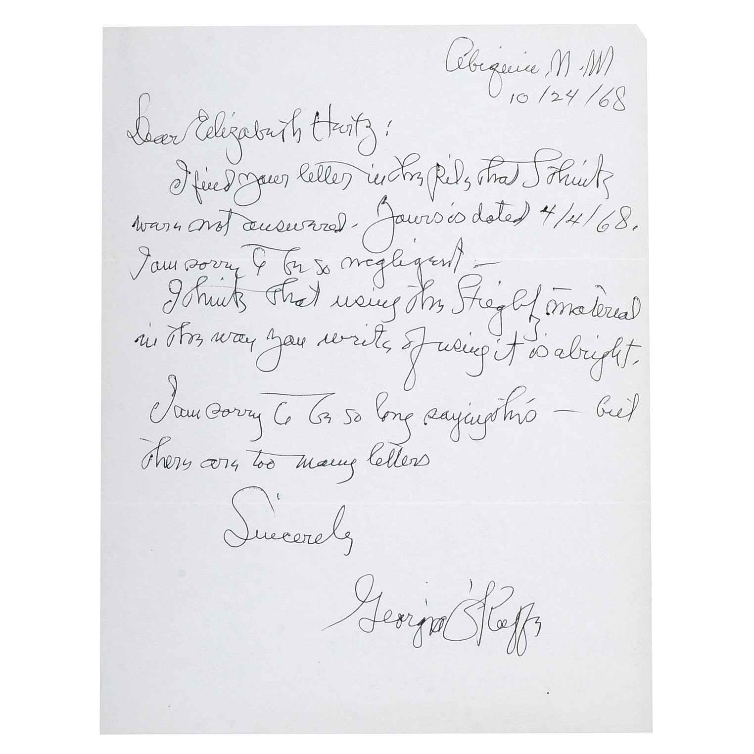 Signed Original 1968 Letter from Georgia O'Keeffe