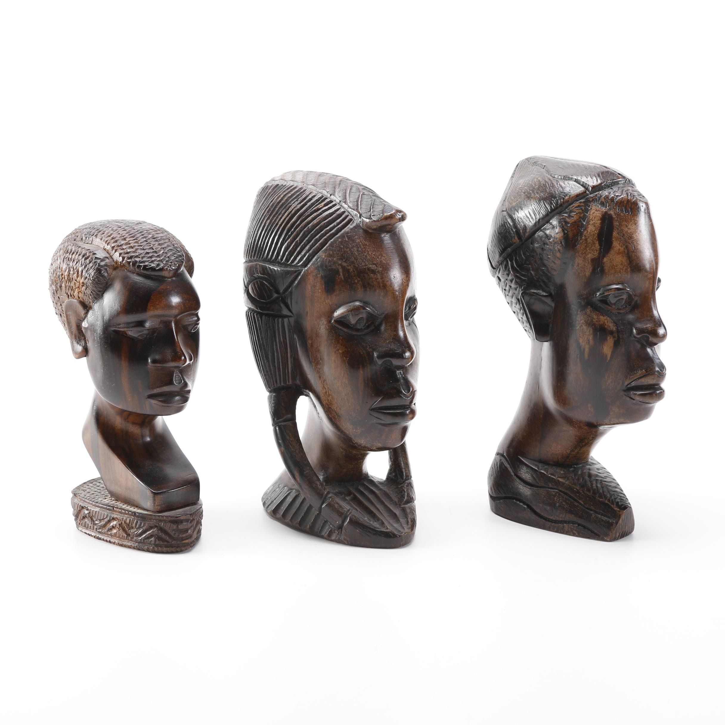 Hand Carved Wooden Busts