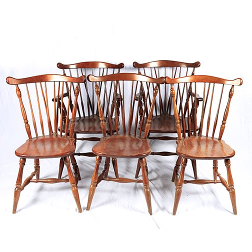 Mid-century Brace Back Windsor Chairs