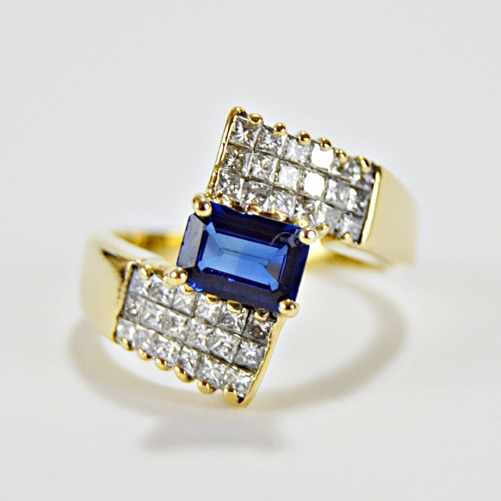 14K Yellow Gold, Emerald Cut Sapphire and 0.83 CTW Diamond Ring