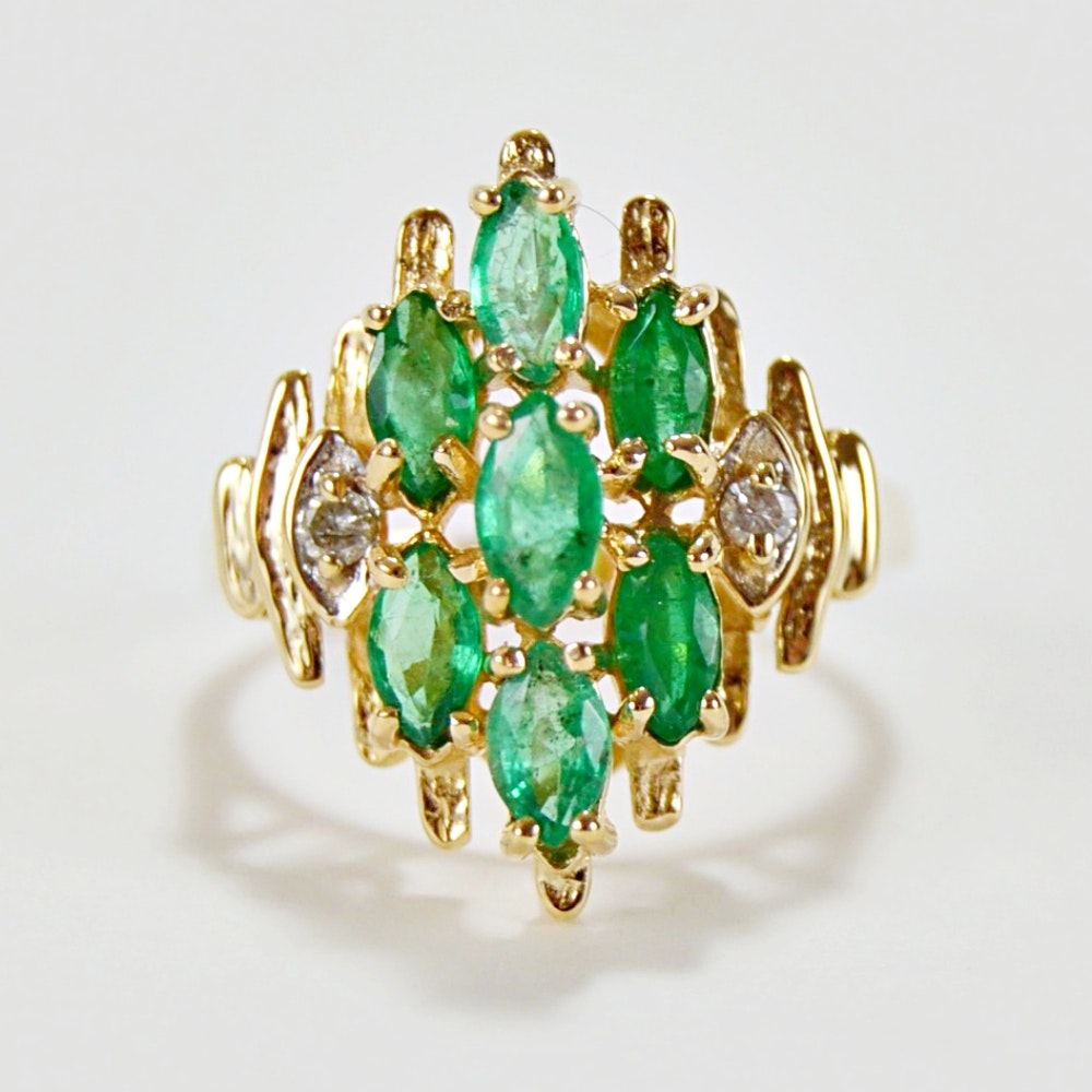 14K Yellow Gold Emerald and Diamond Cocktail Ring