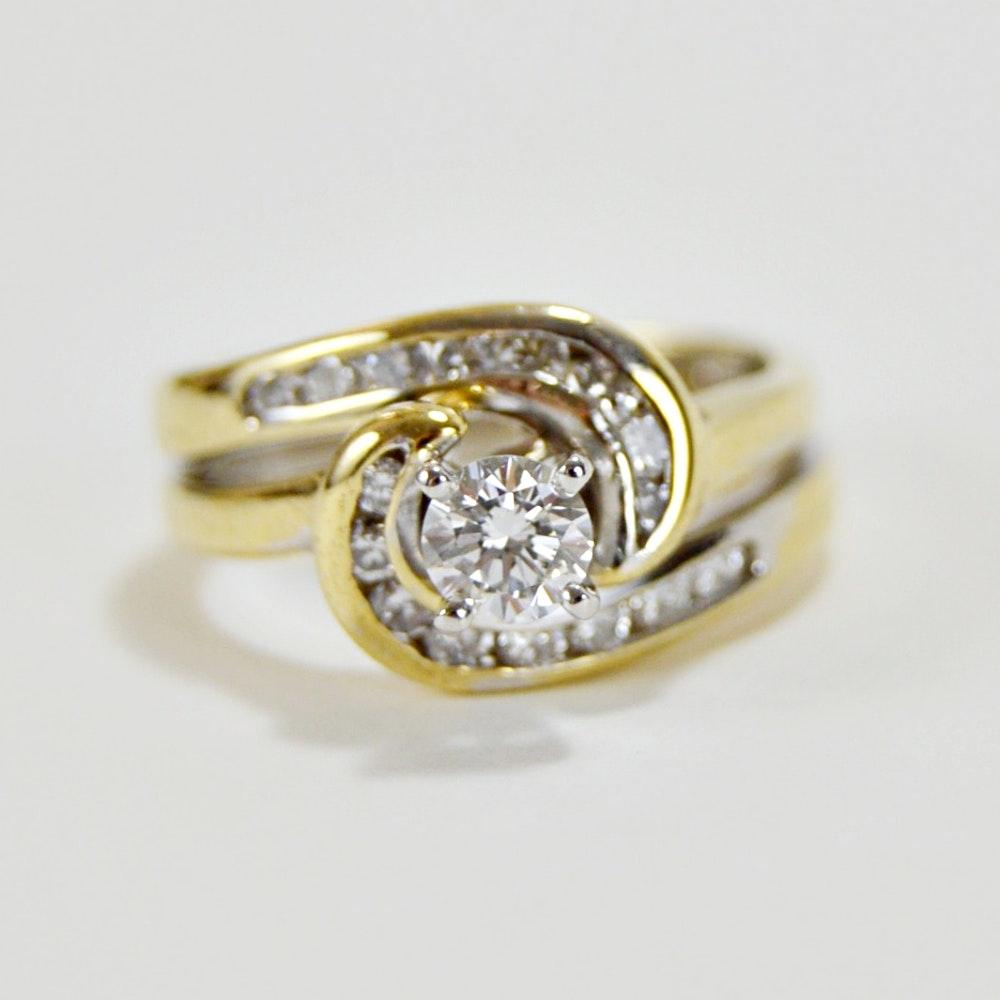 14K Gold and 0.71 CTW Diamond Ring Bridal Set