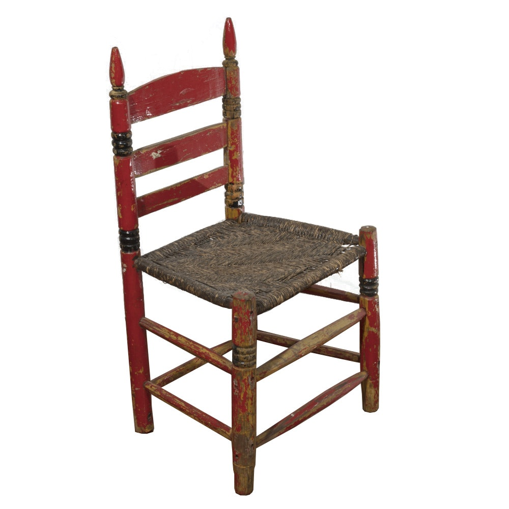 Early 20th Century Arts and Crafts Style Ladderback Chair