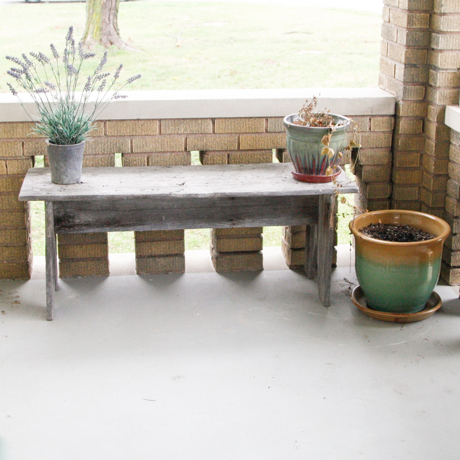 Primitive Wooden Bench with Planters