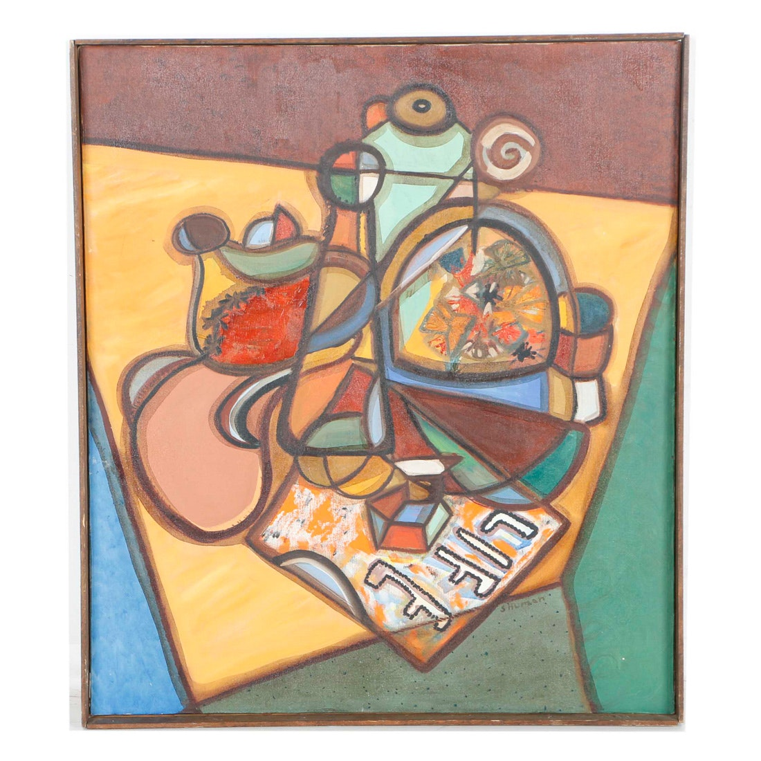 Shuman Oil Painting on Canvas of Abstract Composition