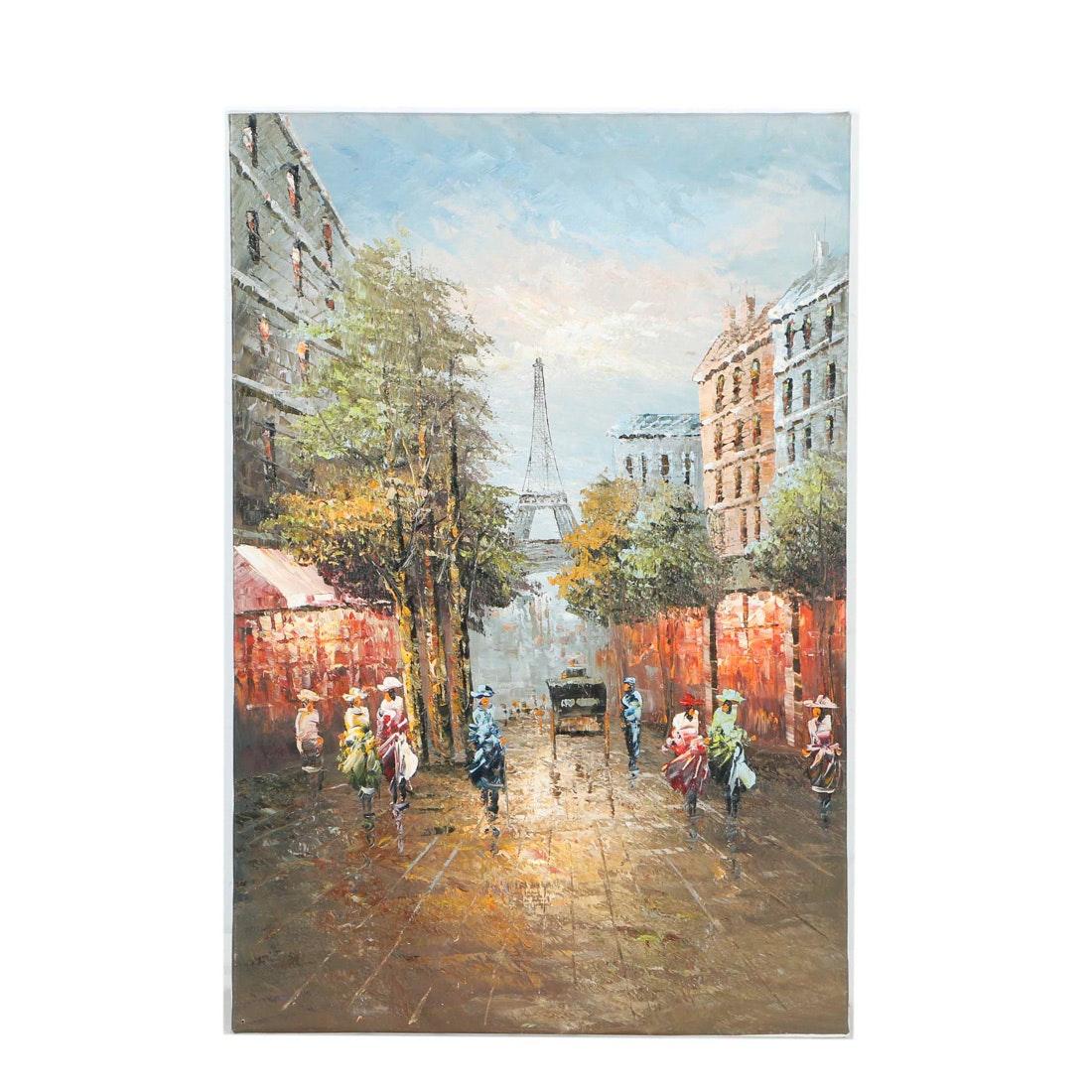 Oil on Canvas of Parisian Streetscape