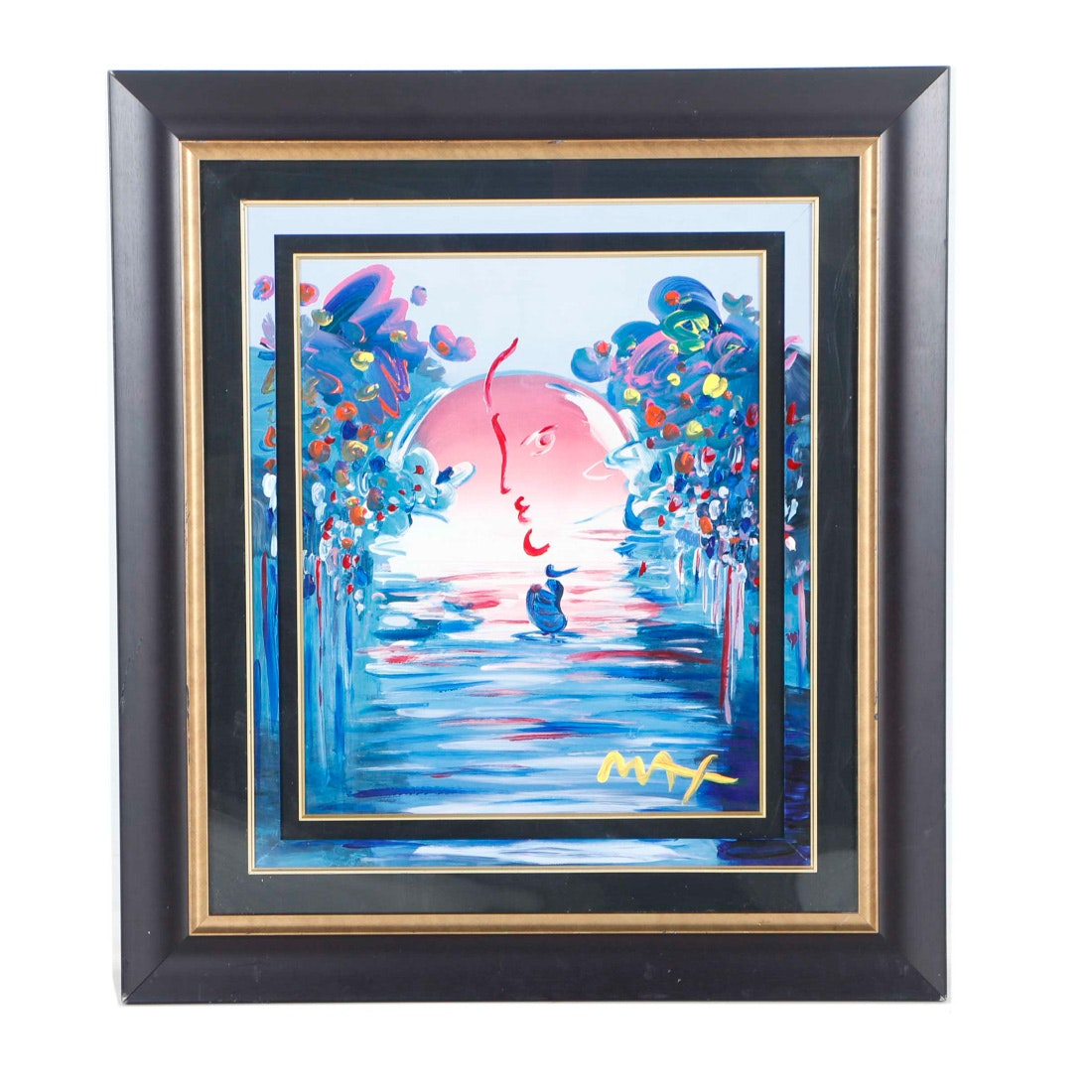 Peter Max Signed Hand Embellished Mixed Media