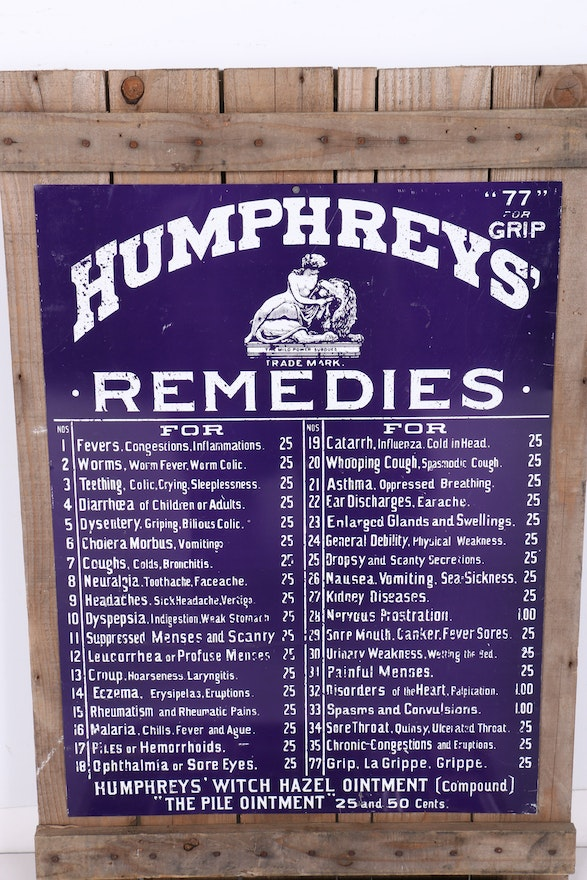 Brothers Auto Sales >> Antique Humphreys' Remedies Sign and Homeopathic Products ...