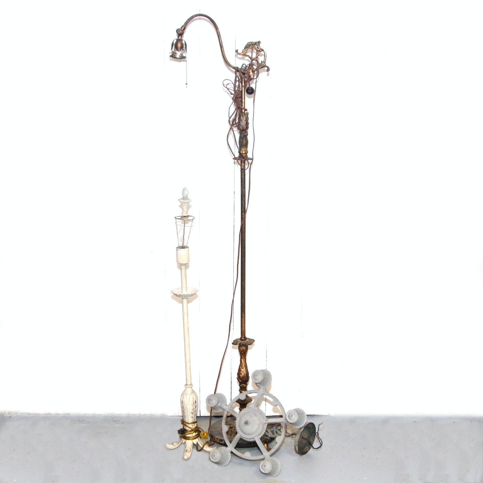 Three Antique to Vintage Cast Metal Lighting Fixtures