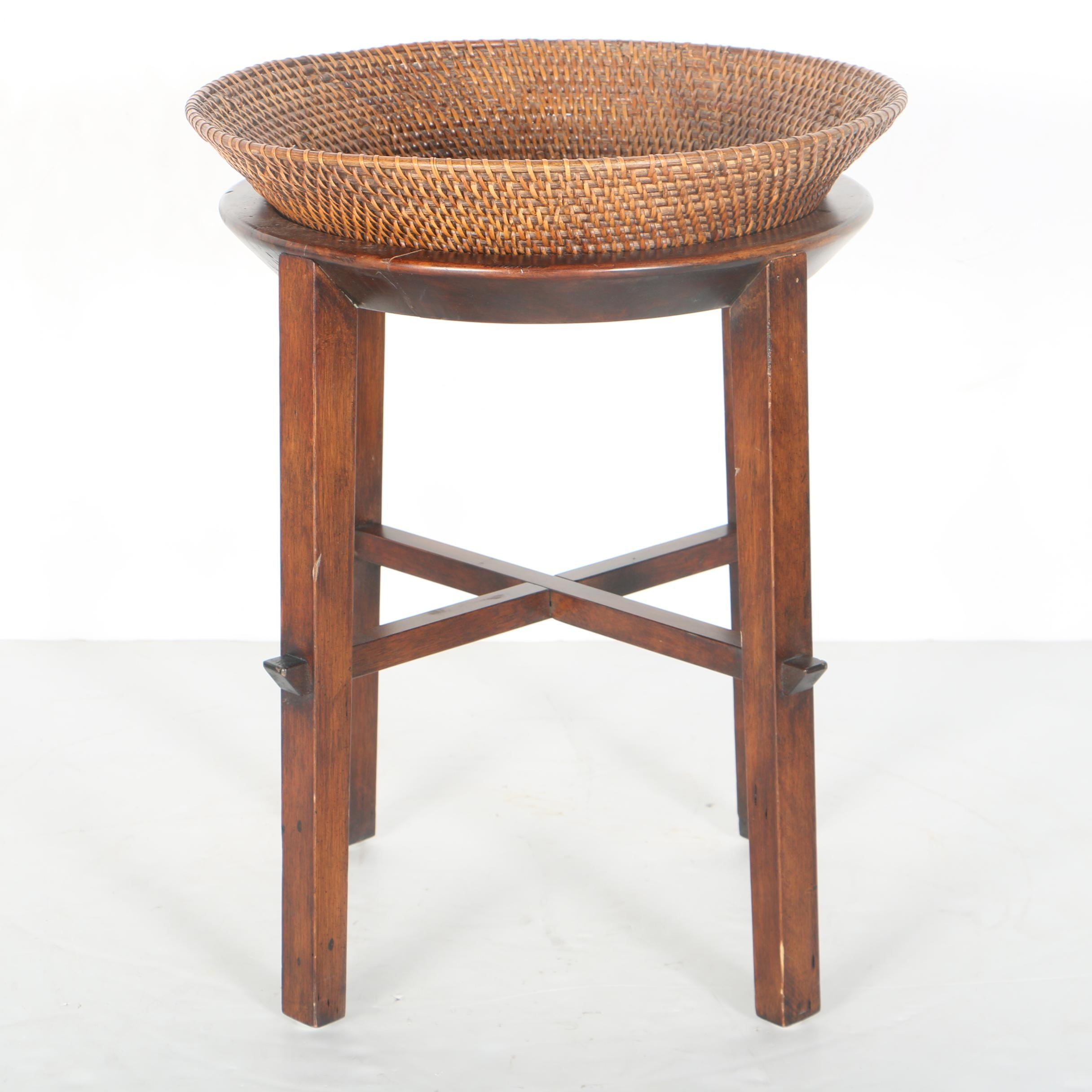 Woven Basket With Wooden Stand