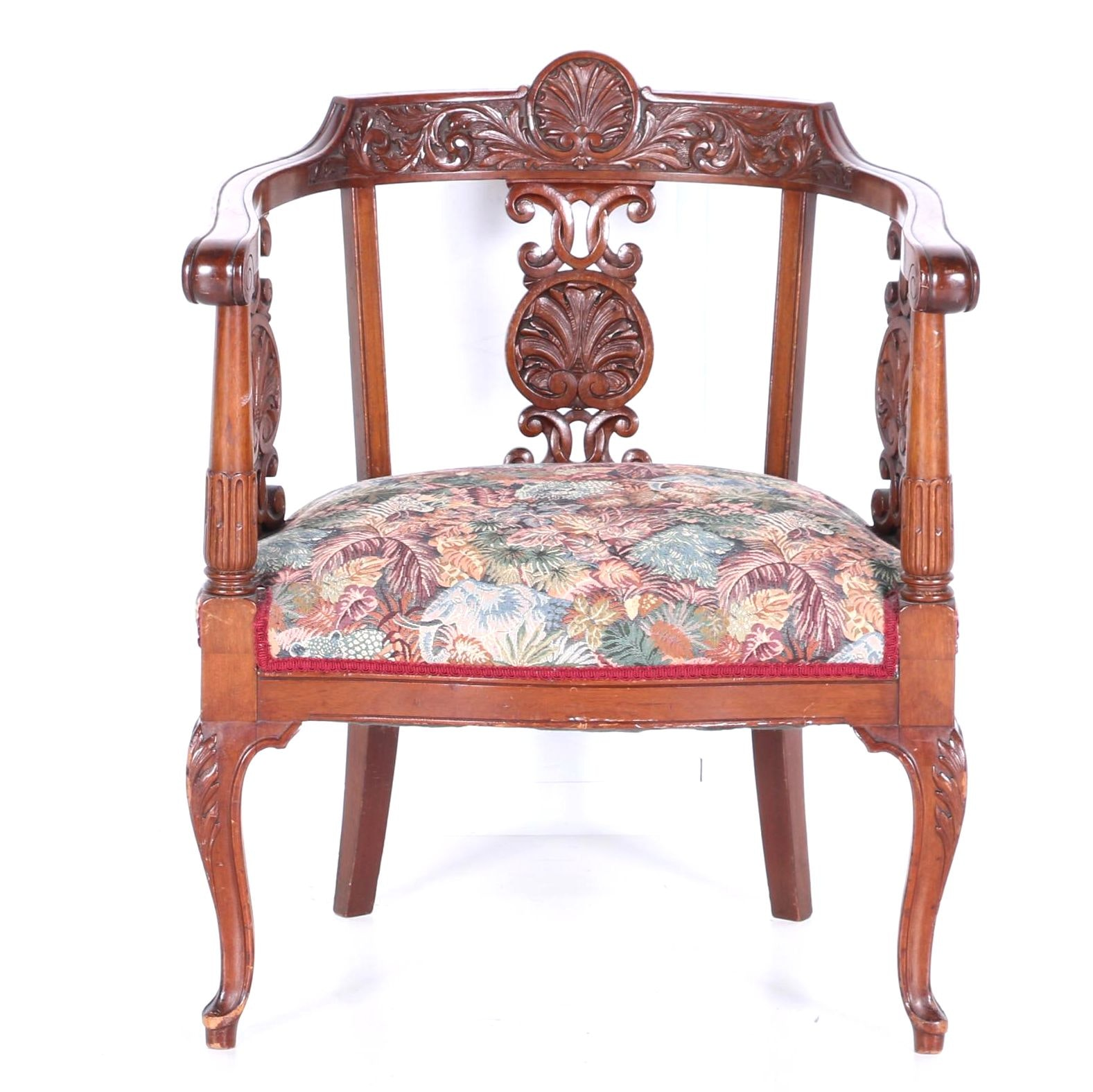 Antique French Style Carved Barrel Back Armchair ...