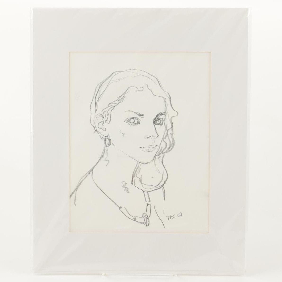 Murat Kaboulov Charcoal Portrait on Paper