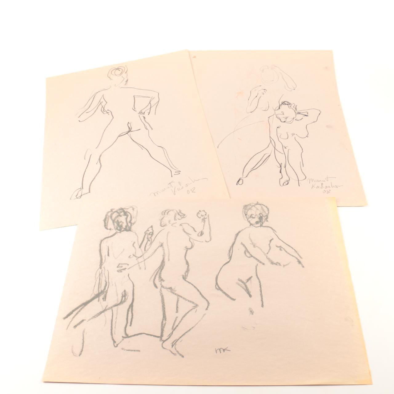 Murat Kaboulov Original Charcoal on Paper of Figure Studies