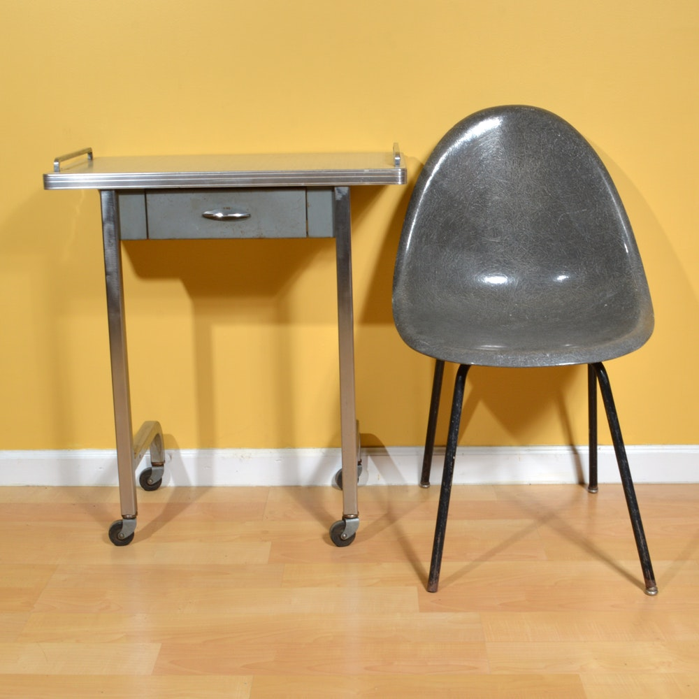 Retro Molded Chair and Breakfast Cart