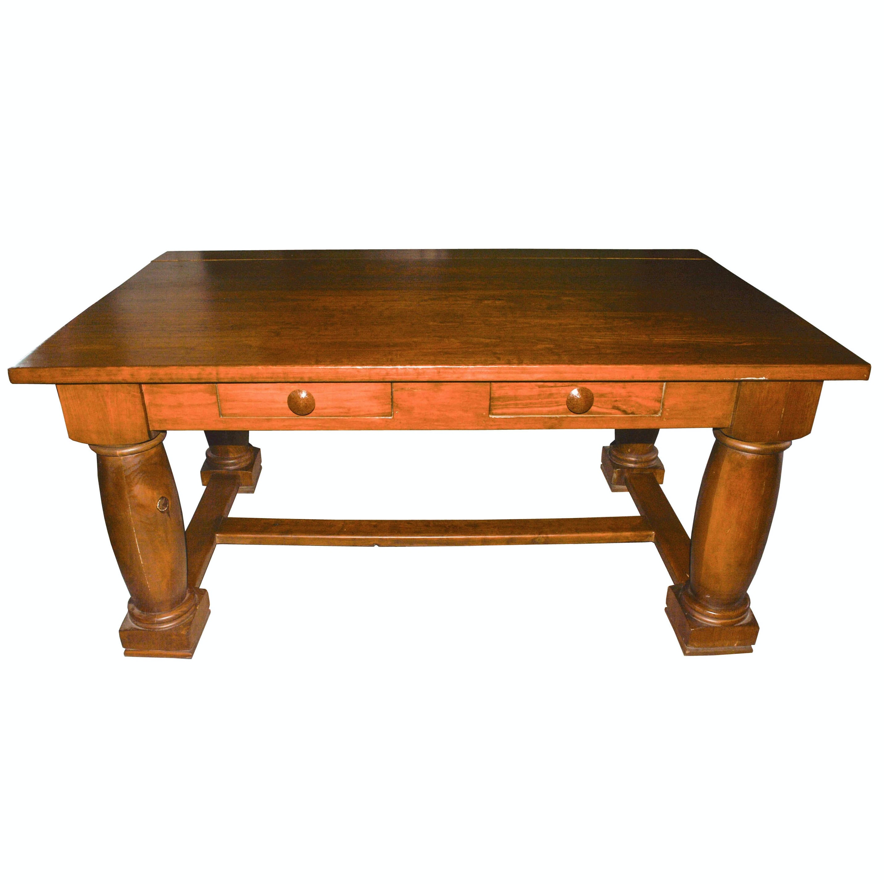 Solid Wood Table With Drawers