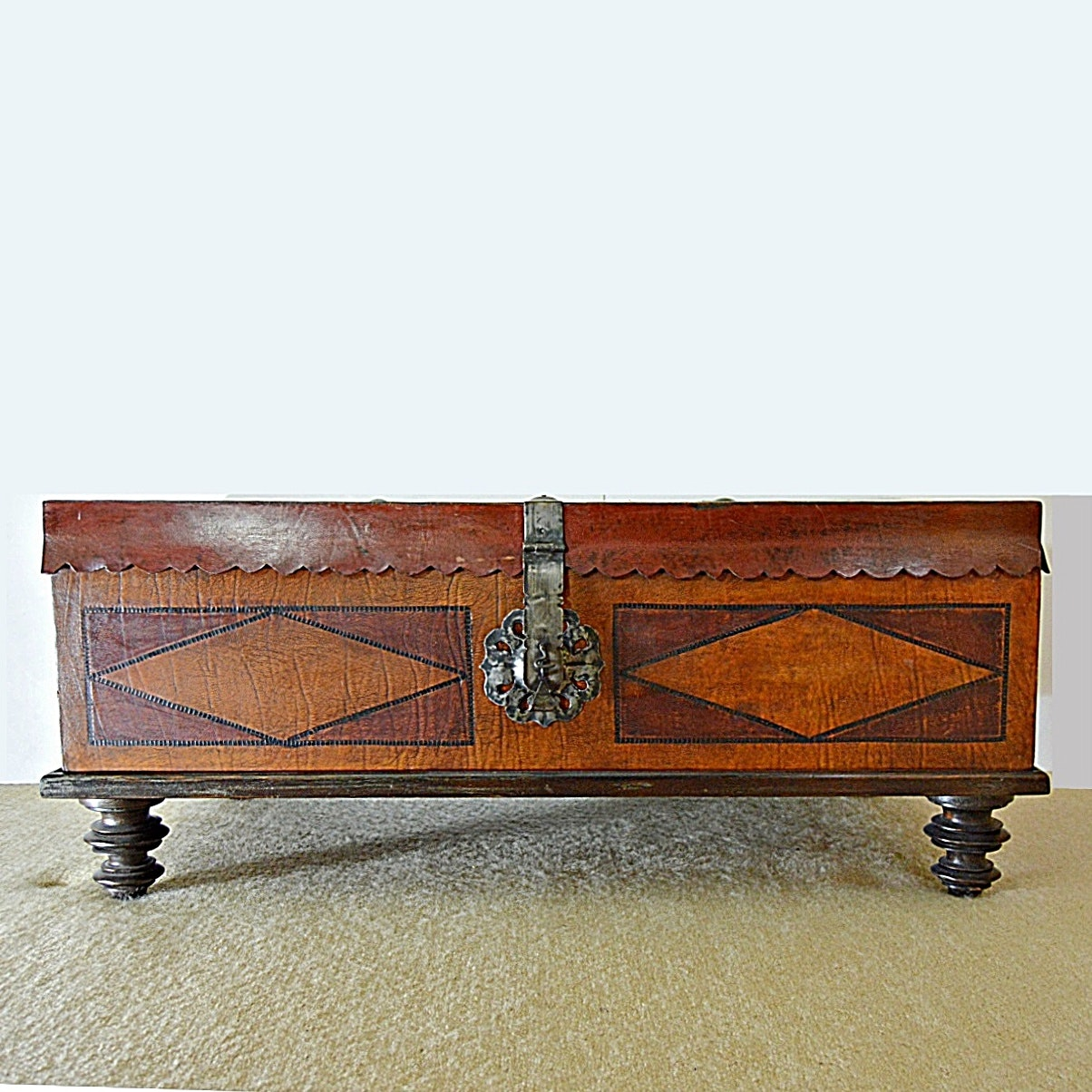 Vintage Spanish Style Leather Trunk with Ralph Lauren Linens