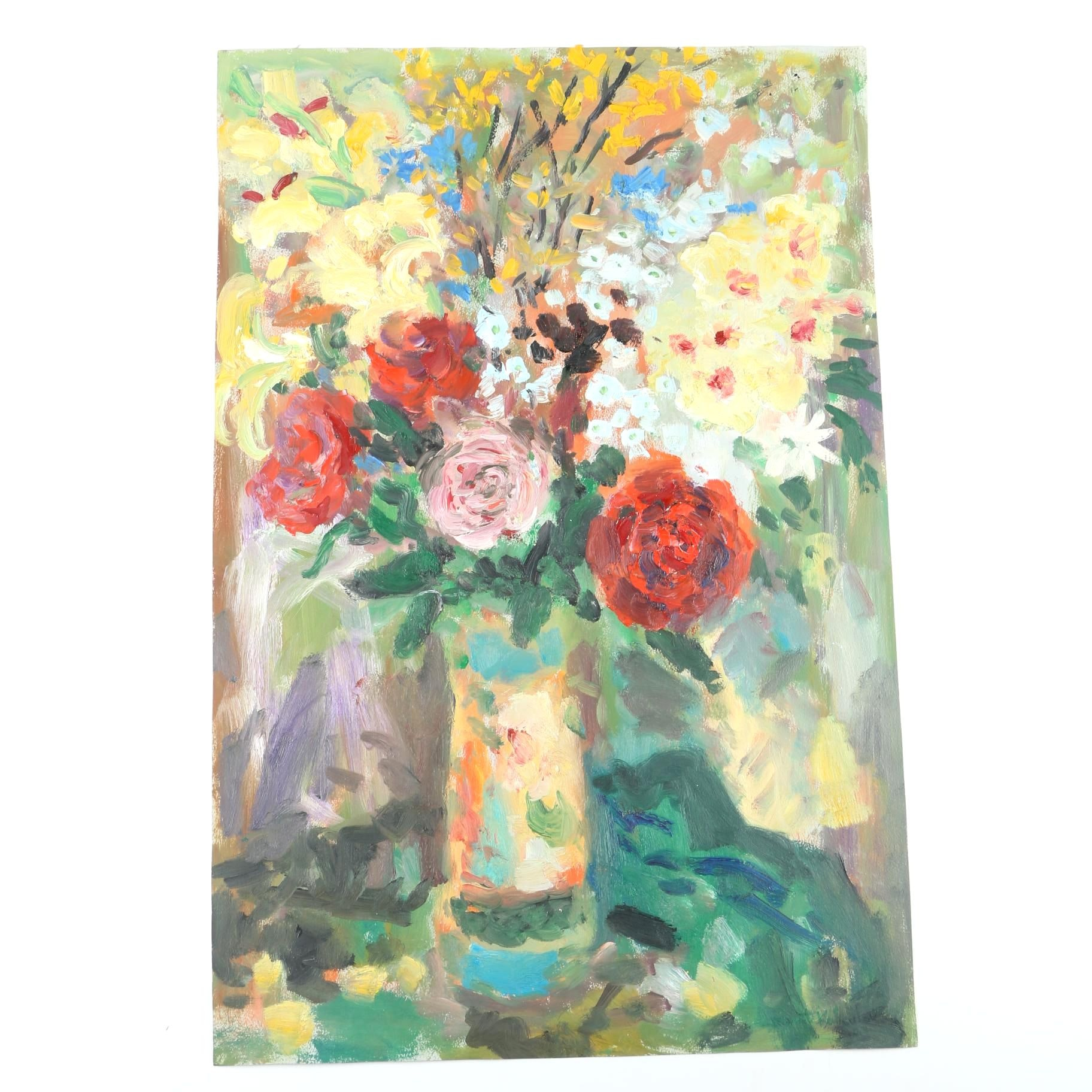 Acrylic Painting on Paper of Vase of Flowers