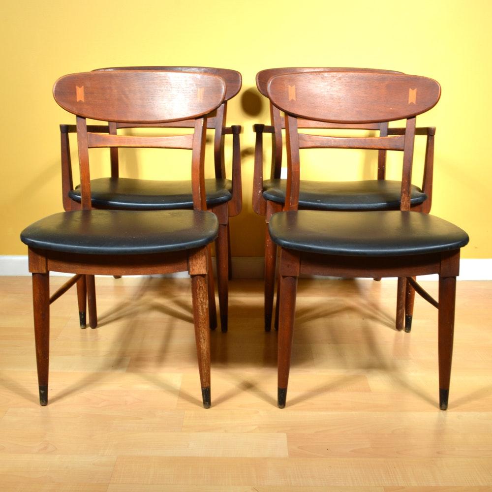 Four Mid Century Modern Walnut Chairs