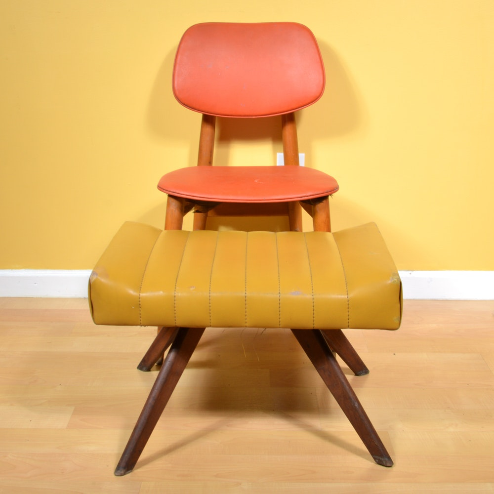 Vintage Vinyl Chair by Thonet and Foot Stool by Charlton Co. of Calif.