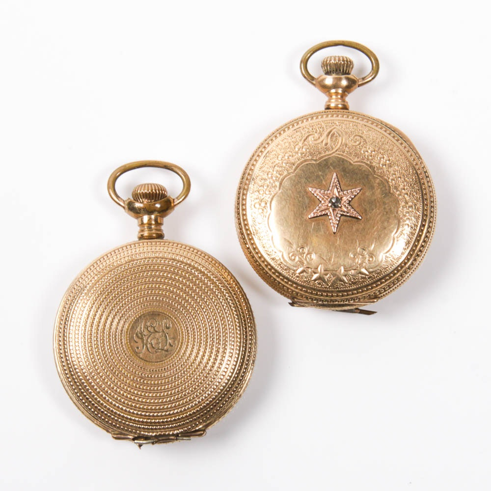 Pair of Antique Gold Filled Elgin Pocket Watches