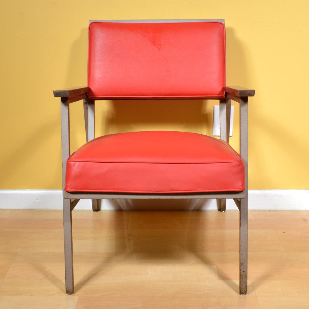 Mid Century Modern Red Vinyl Open Arm Chair