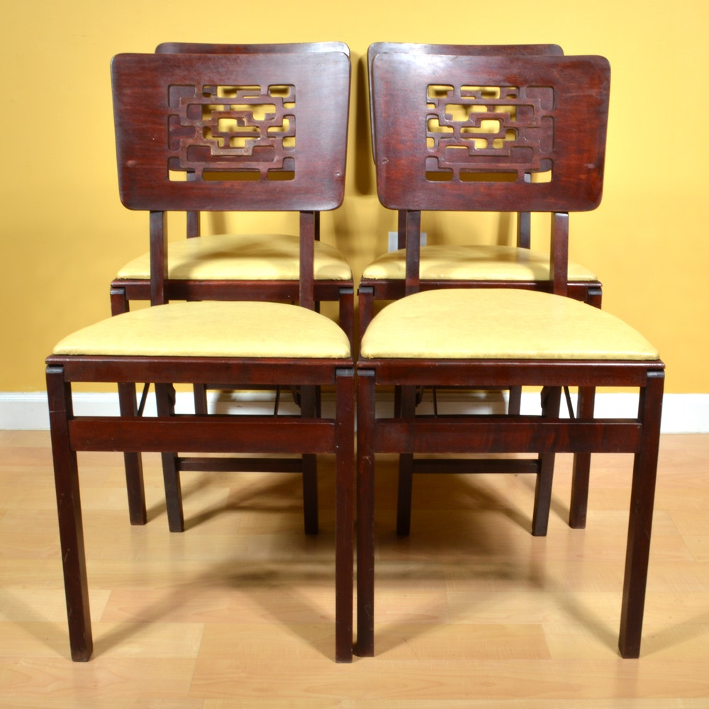 Four Vintage Wood Folding Chairs by Stakmore EBTH