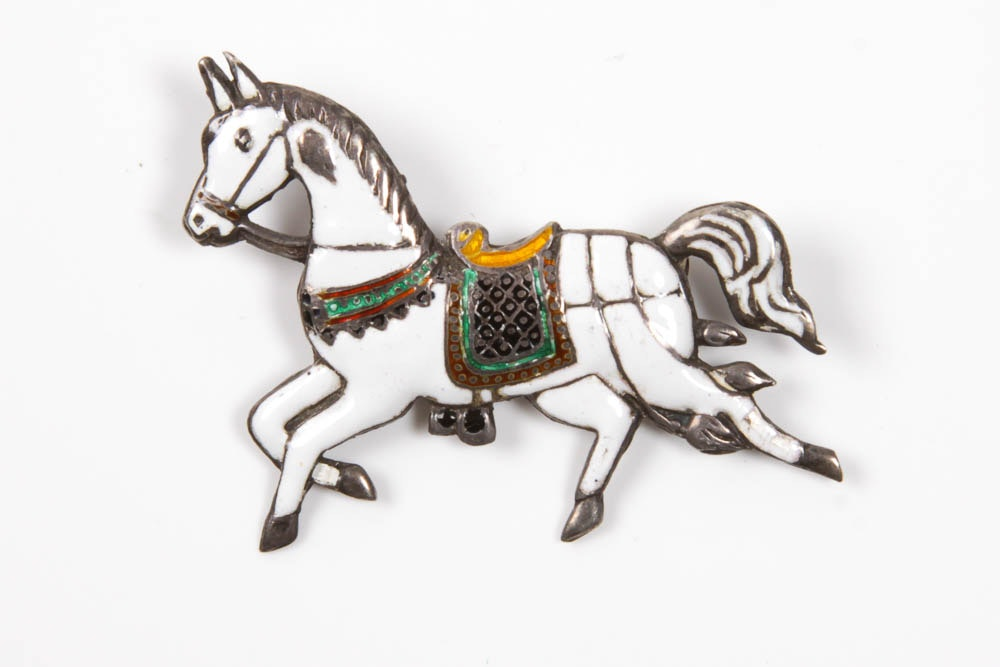 Sterling and Enamel Horse Pin