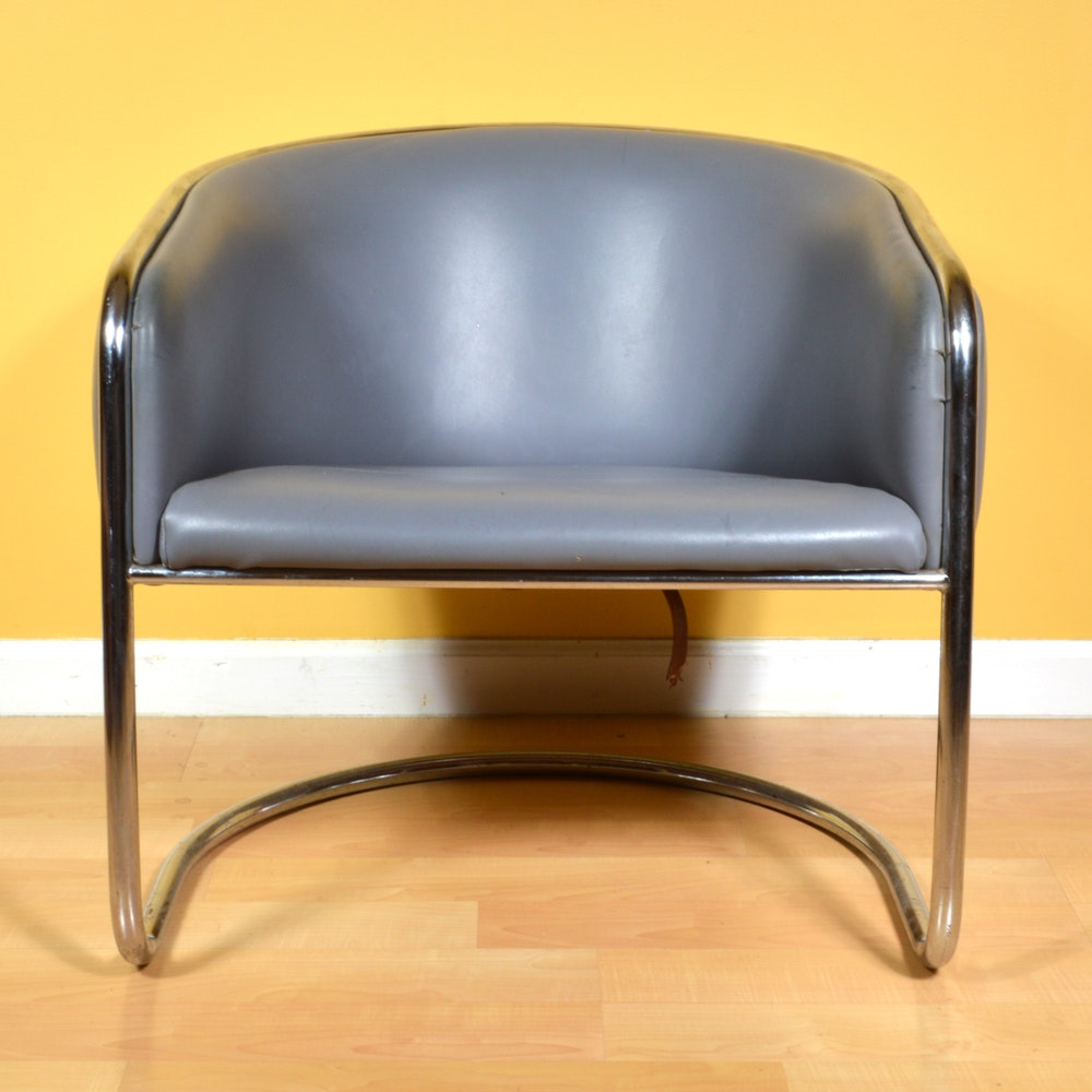 Mid-Century Vinyl Barrel Back Chair