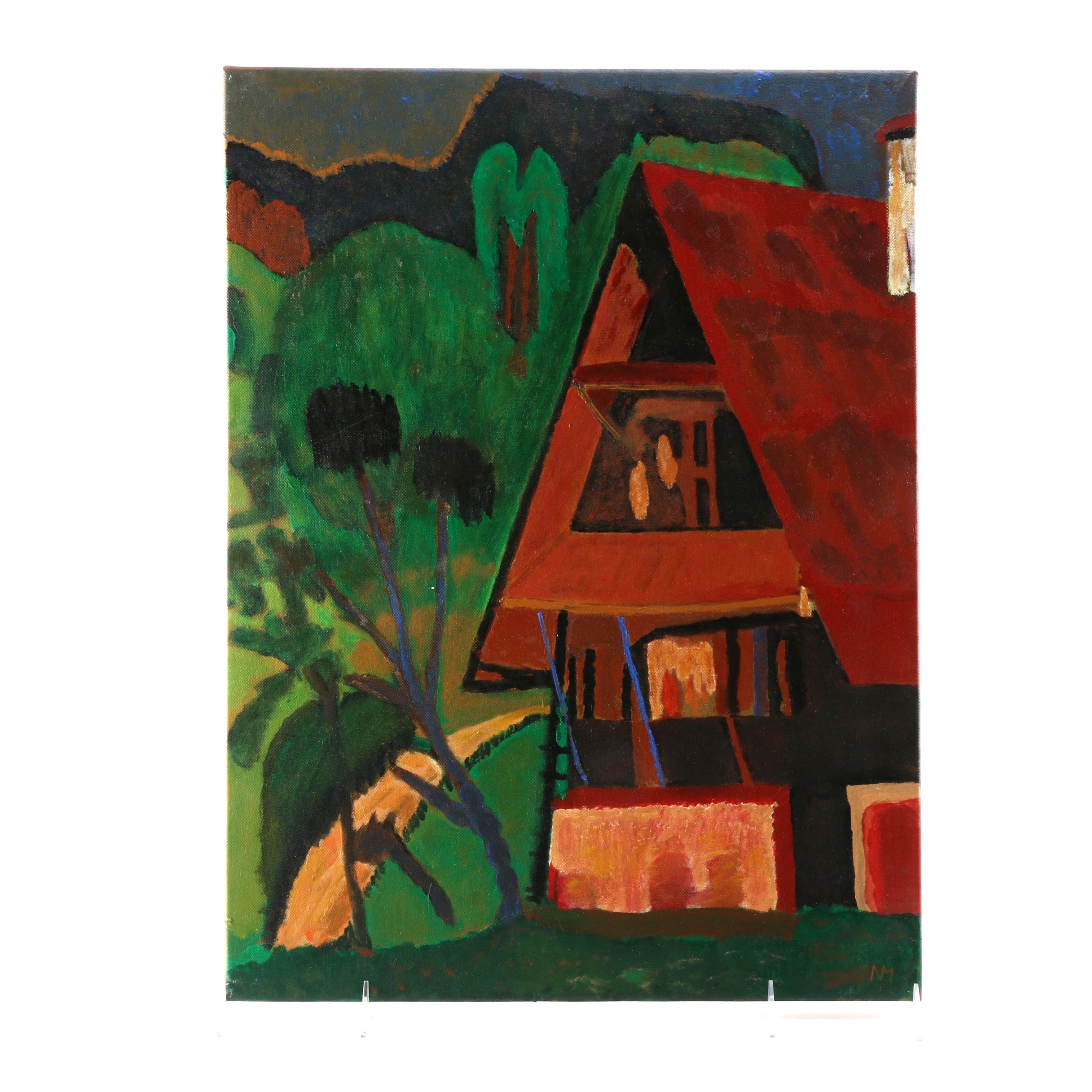 Original Signed Oil Painting of a House in the Woods