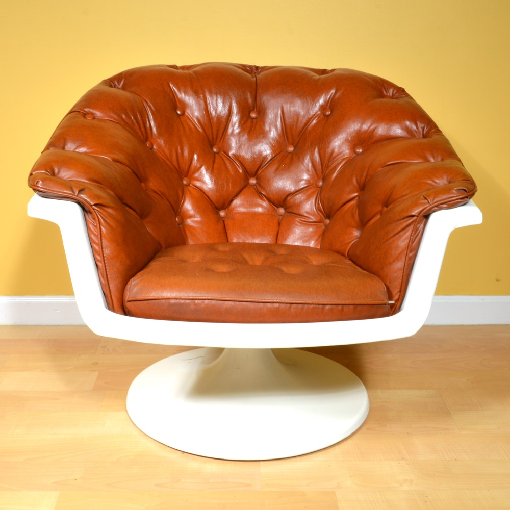 Mid Century Modern Tufted Upholstered Tulip Chair