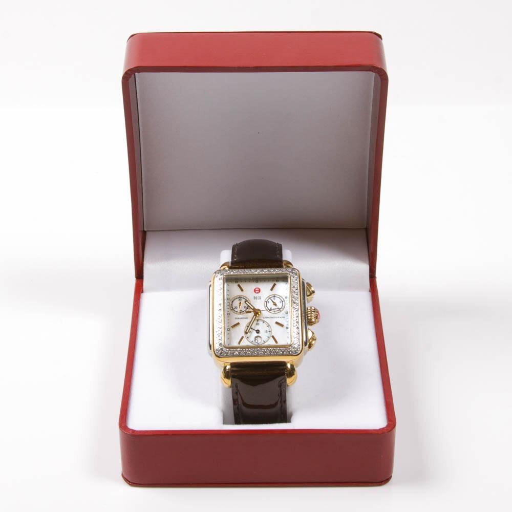 "Michele ""Deco"" Diamond Chronograph Watch"