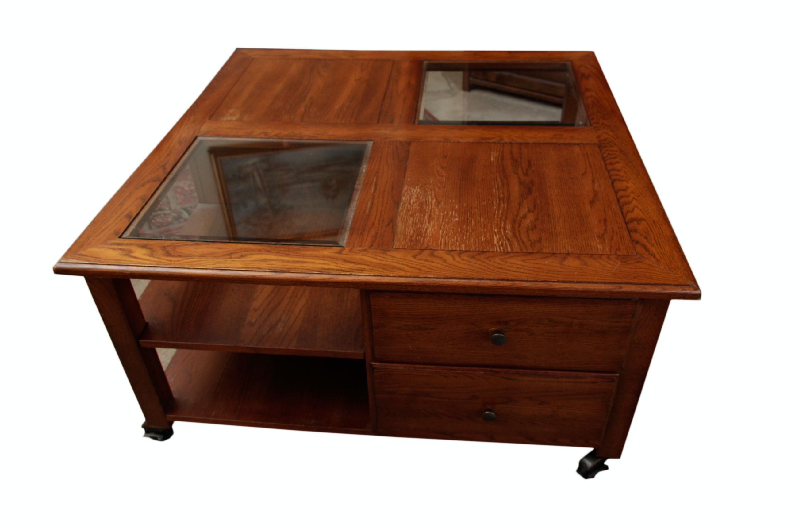 """impressions""""thomasville wooden rolling coffee table : ebth"""