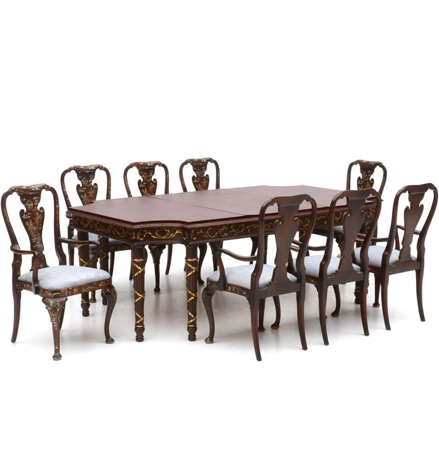 baker style dining table and asian inspired chairs