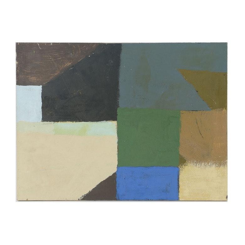 Edgar Hatten Oil Painting on Canvas Abstract Scene