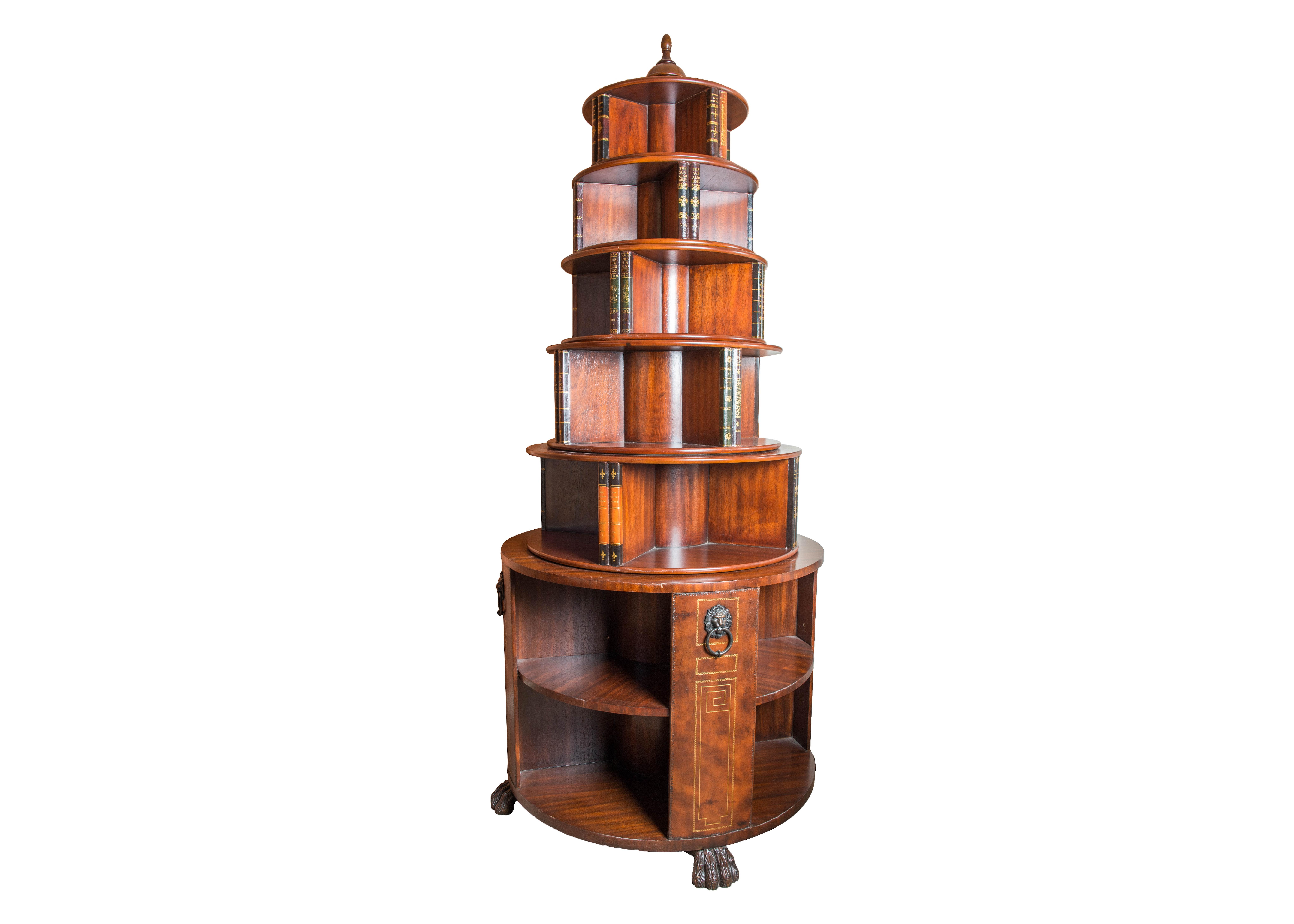 Hemingway Style Round Spinning Bookcase