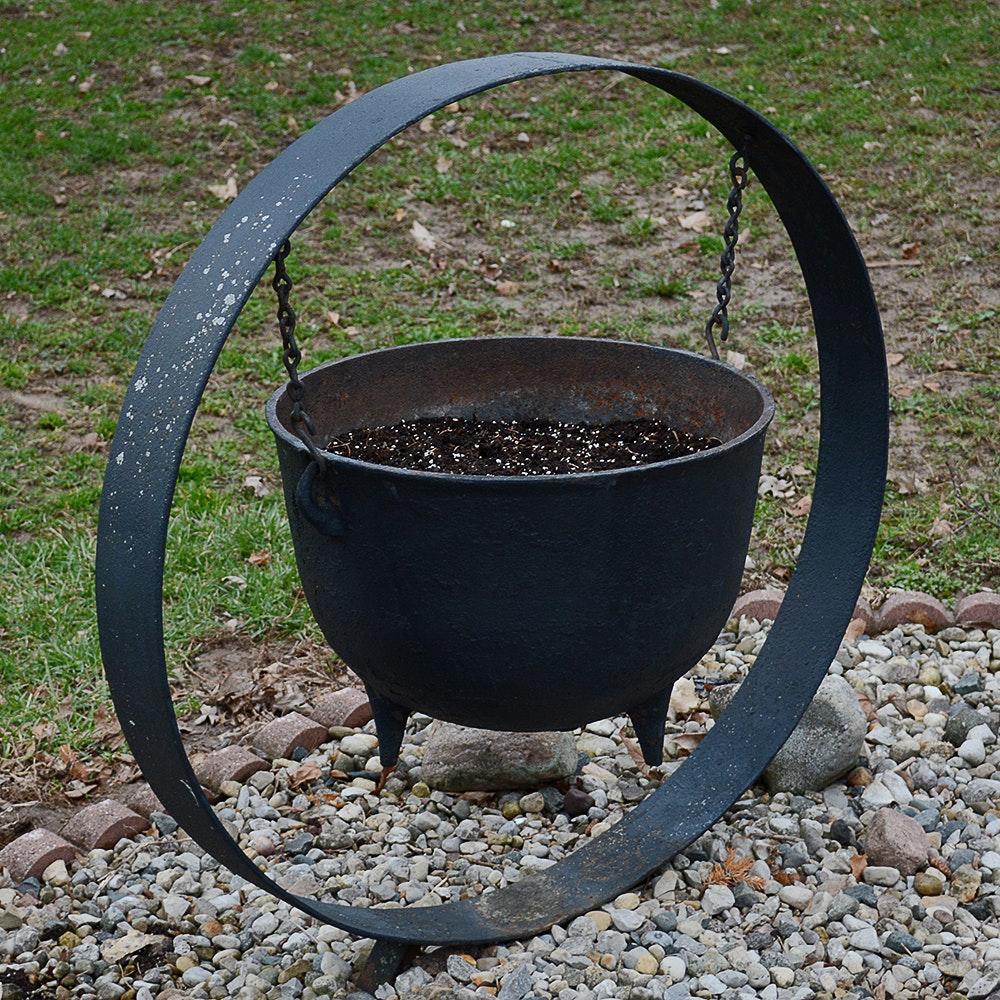 Cast Iron Black Cauldron Lawn Ornament