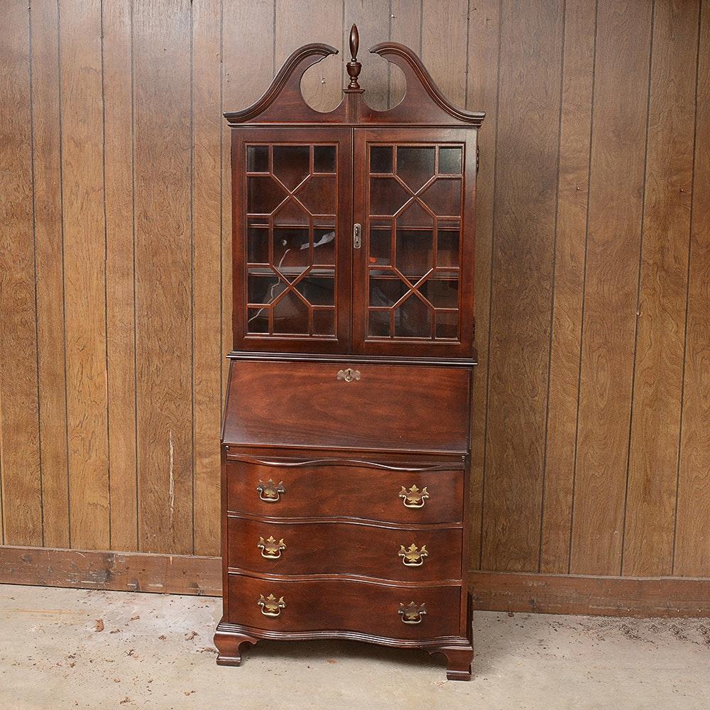 Chippendale Style Jasper Cabinet Mahogany Secretary