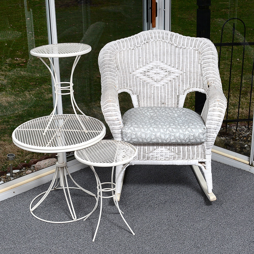 Vintage Wicker Rocking Chair and Three Metal Patio Tables