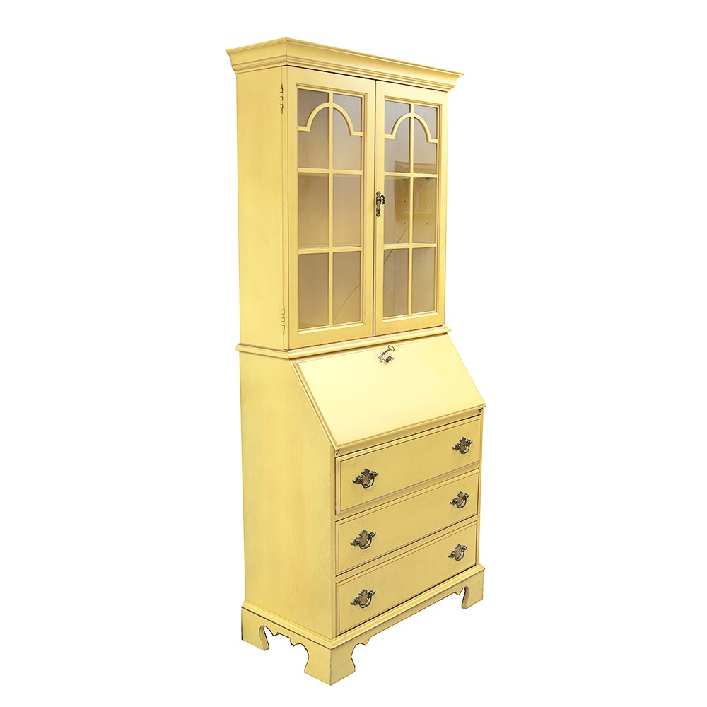 Vintage Jasper Cabinet Yellow Wooden Secretary
