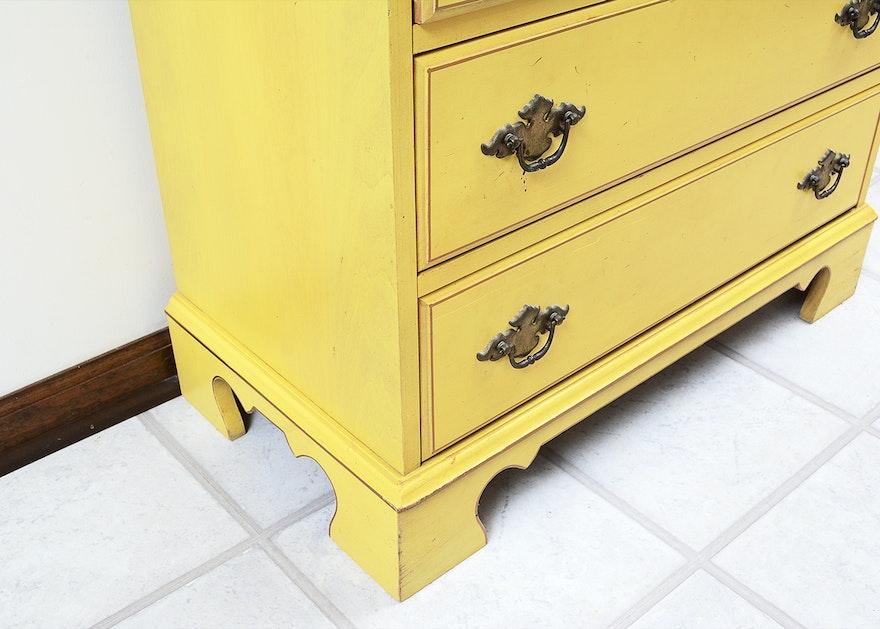 Vintage Jasper Cabinet Yellow Wooden Secretary | EBTH