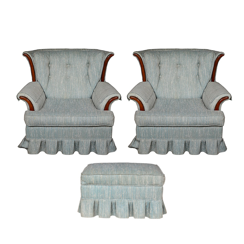 Two Vintage Upholstered Armchairs and Ottoman