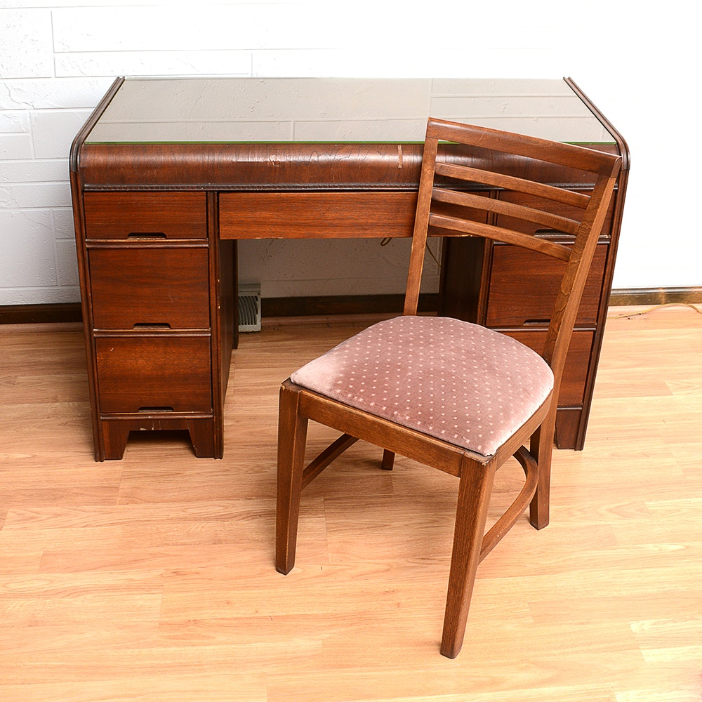 Vintage Wooden Desk With Chair