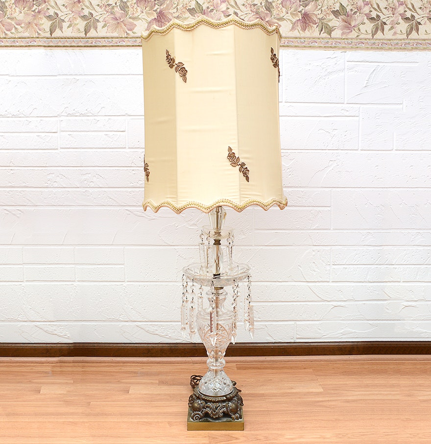 Vintage Cristal D Albret French Crystal Table Lamp with Prisms Ebth