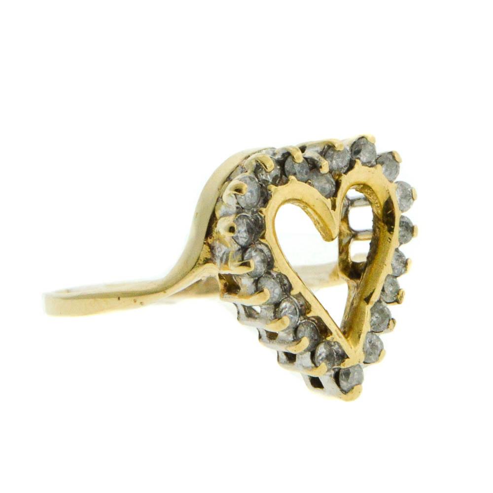 14K Yellow Gold Diamond Heart Shaped Ring
