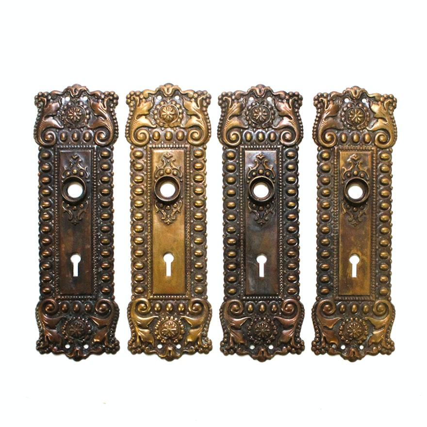 Elegant Antique Cast Brass Door Knob Backplates ... - Elegant Antique Cast Brass Door Knob Backplates : EBTH