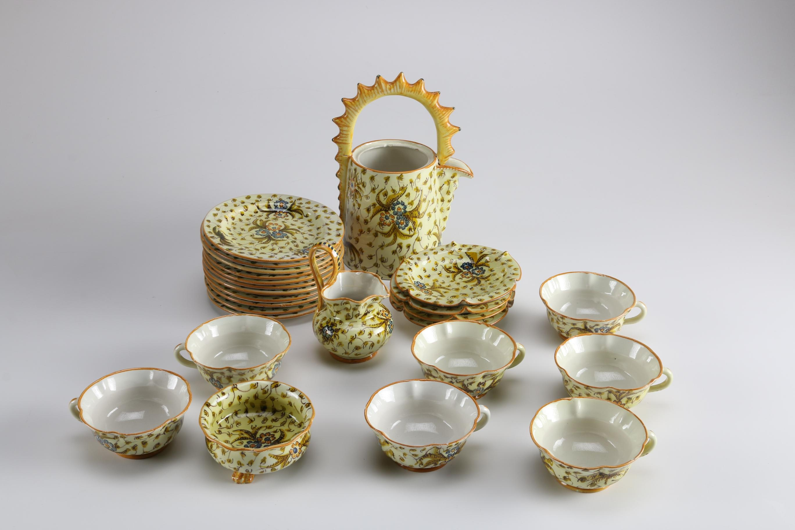 Hand-Painted Italian Cantagalli Floral Tea Set