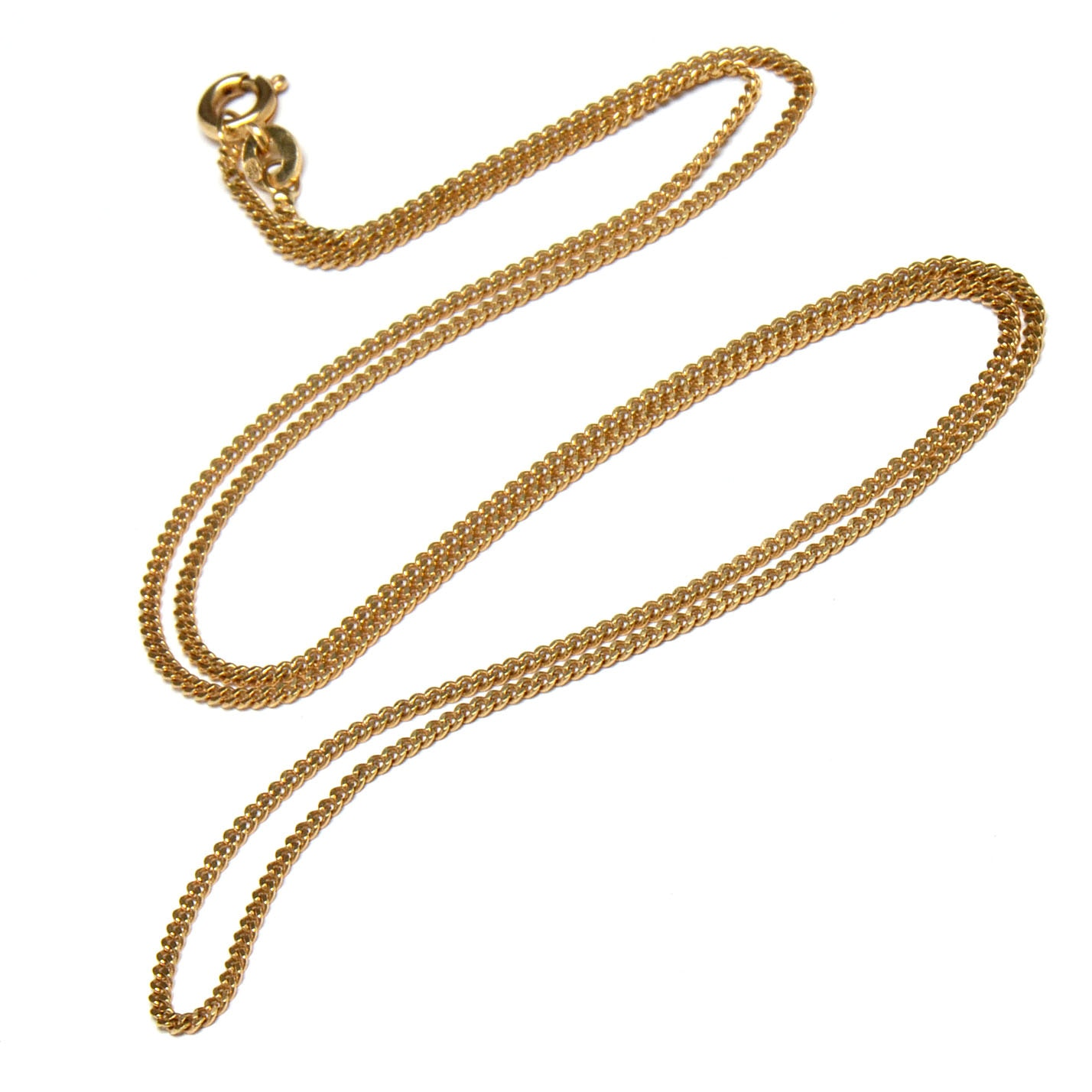 18K Yellow Gold Chain Necklace with Spring Clasp