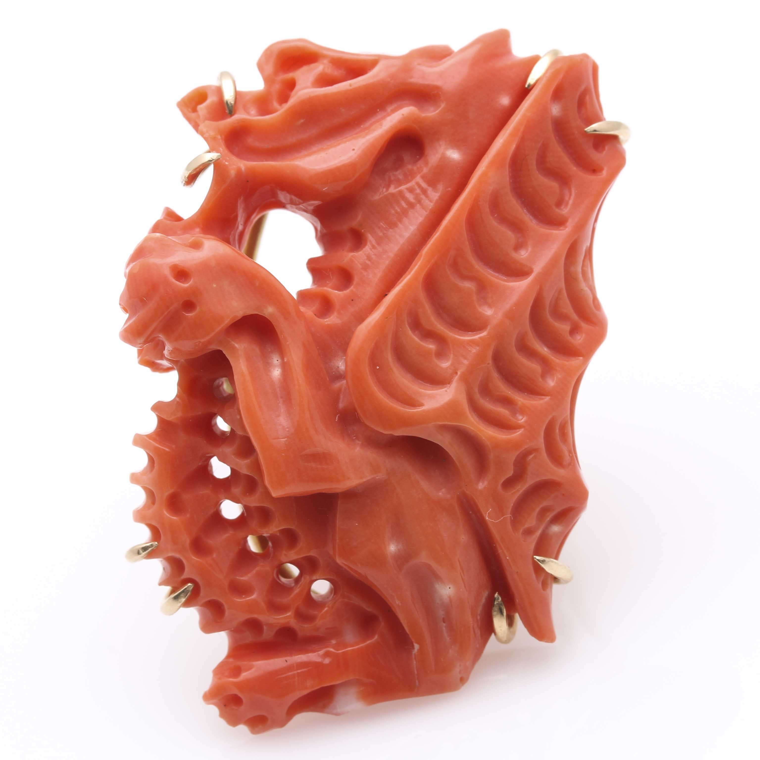14K Yellow Gold Carved Coral Dragon Ring